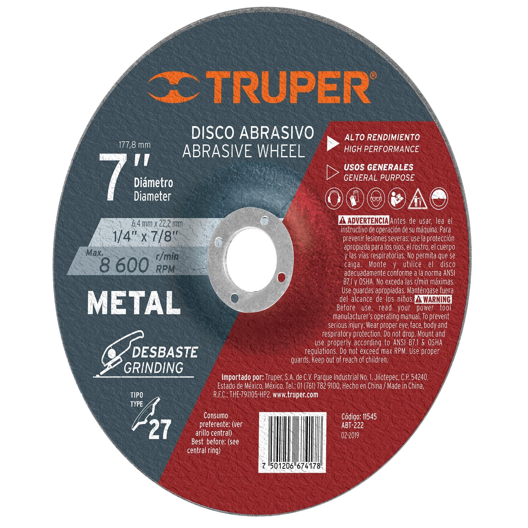 Disco desbaste metal, tipo27,diámetro 7',alto rendimiento