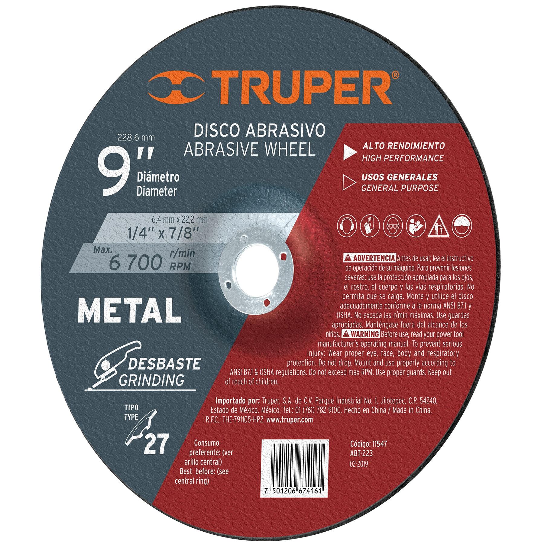 Disco desbaste metal, tipo27,diámetro 9',alto rendimiento