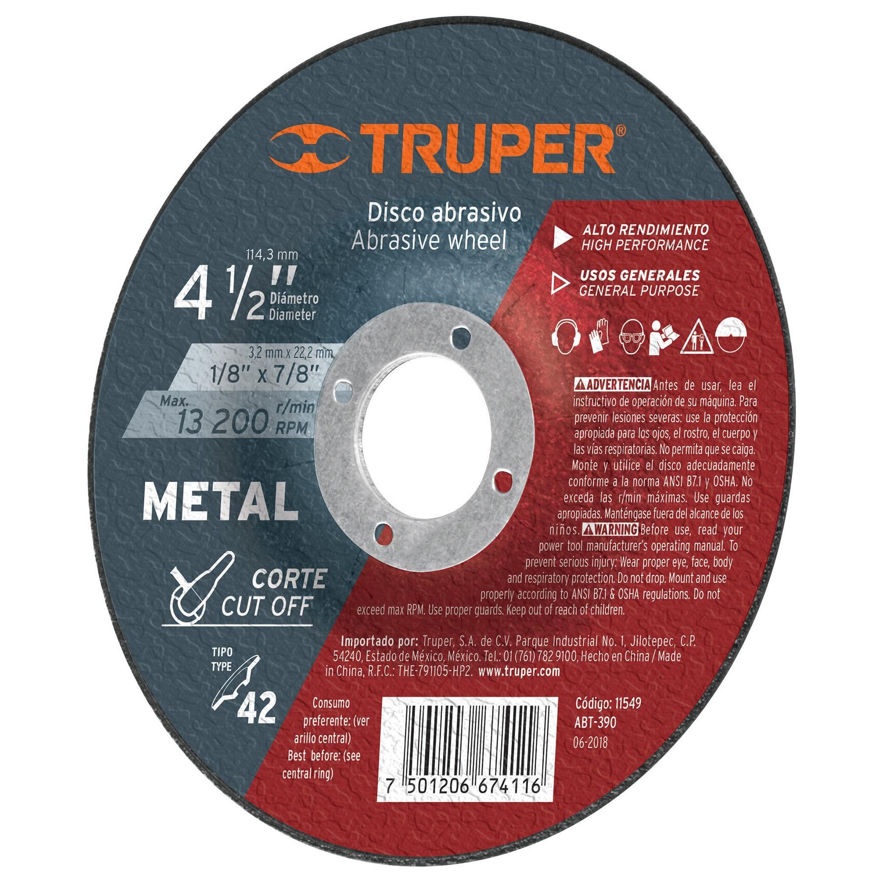 Disco corte metal, tipo42, diámetro 4-1/2', alto rendimiento