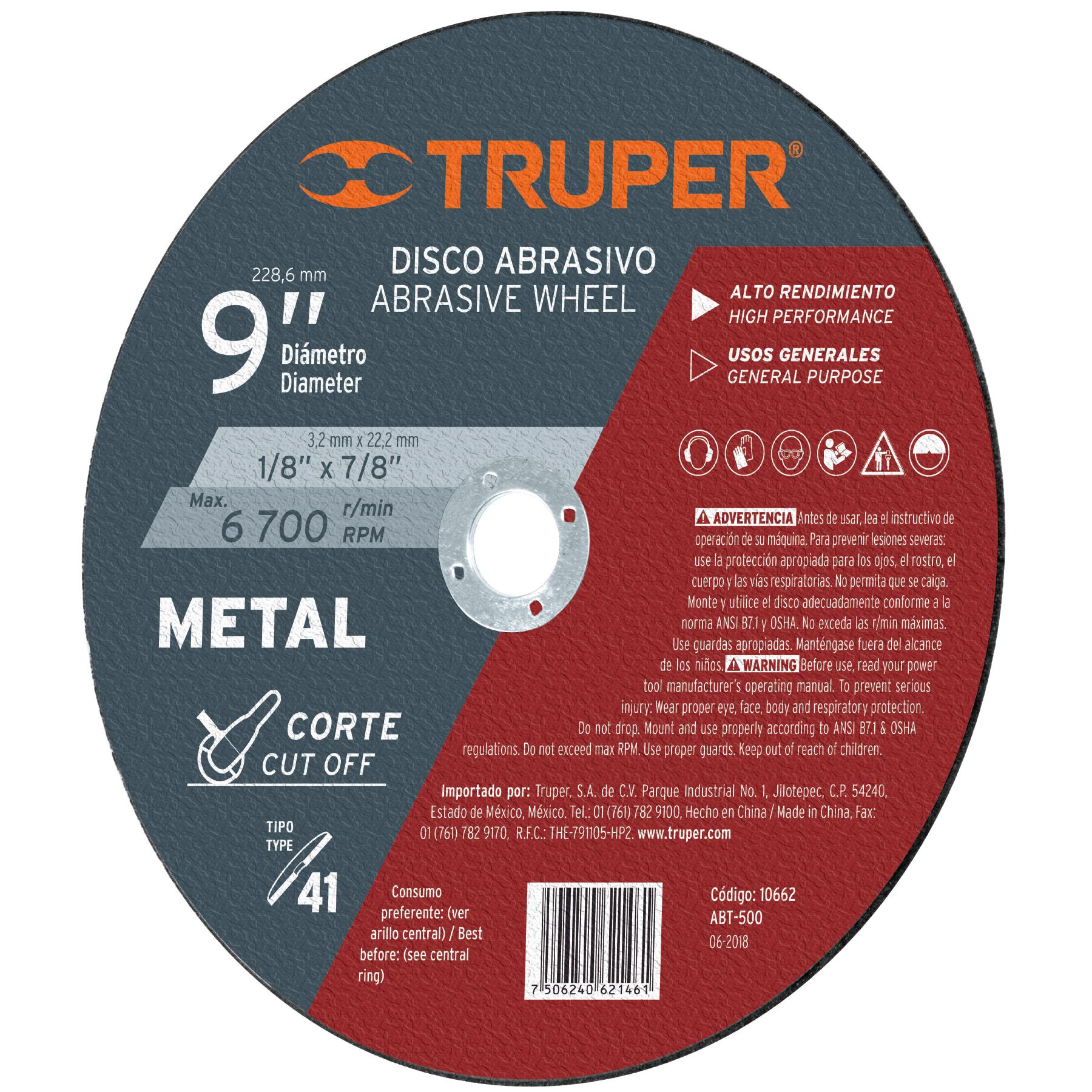 Disco para corte de metal, tipo 41, diámetro 9'