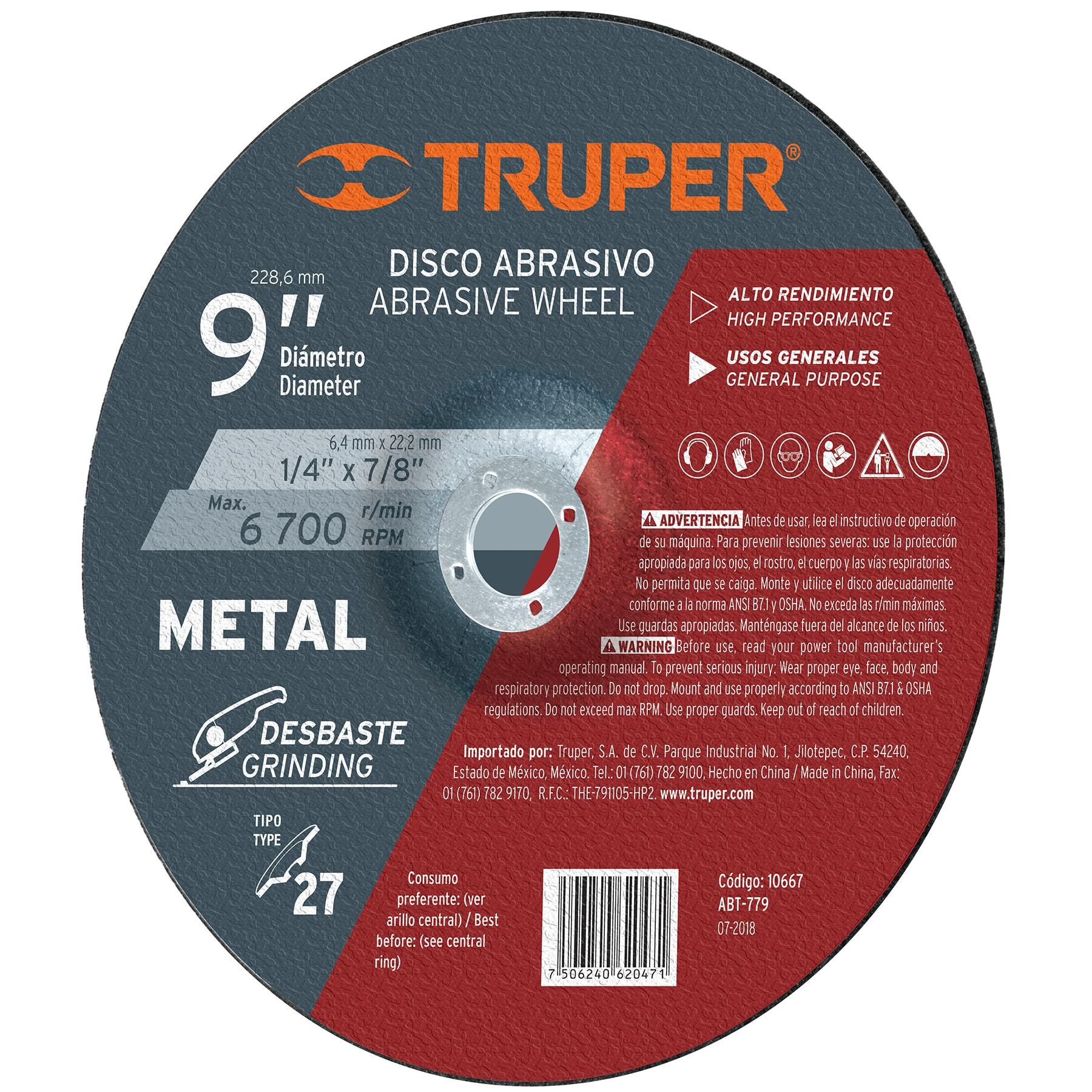 Disco para desbaste de metal, tipo 27, diámetro 9'
