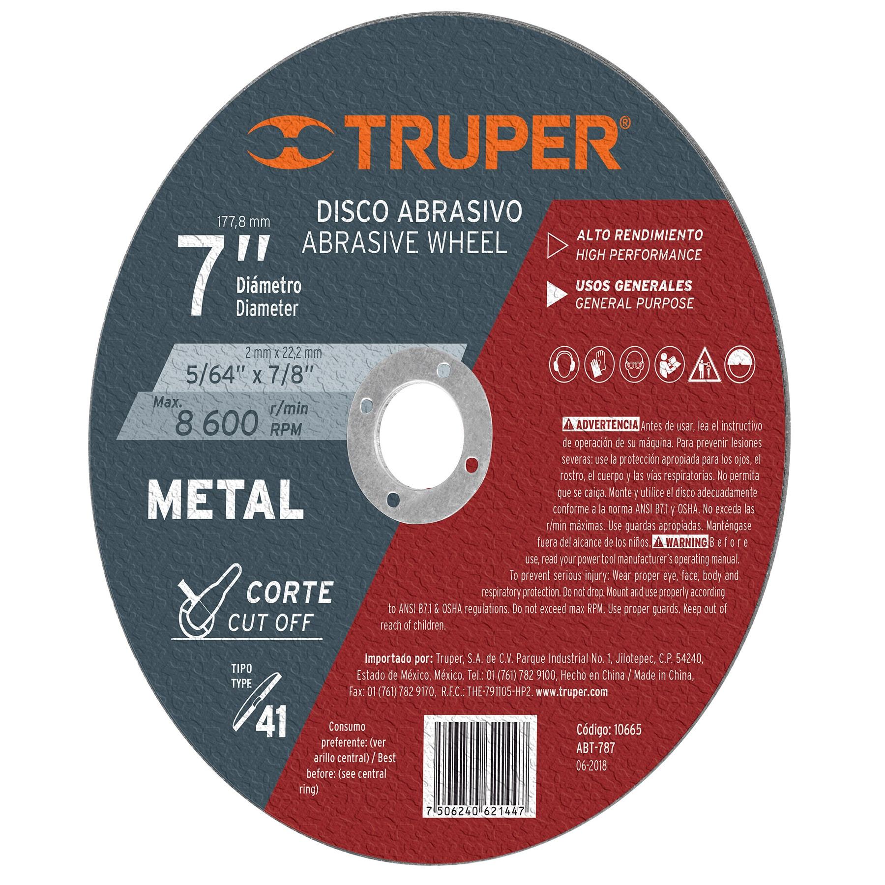 Disco para corte de metal, tipo 41, diámetro 7'
