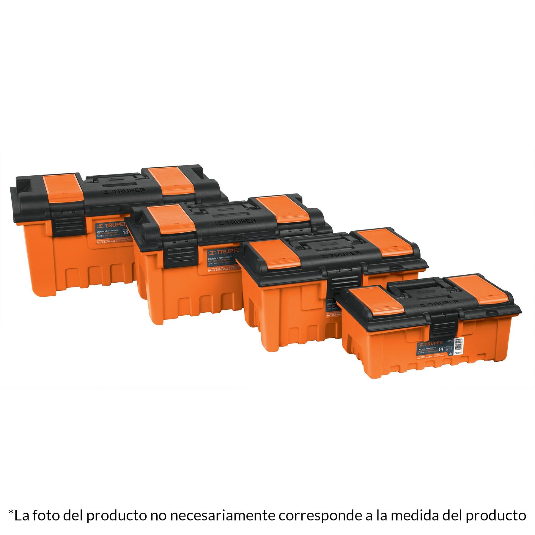 Caja plástica 16' con compartimentos, naranja