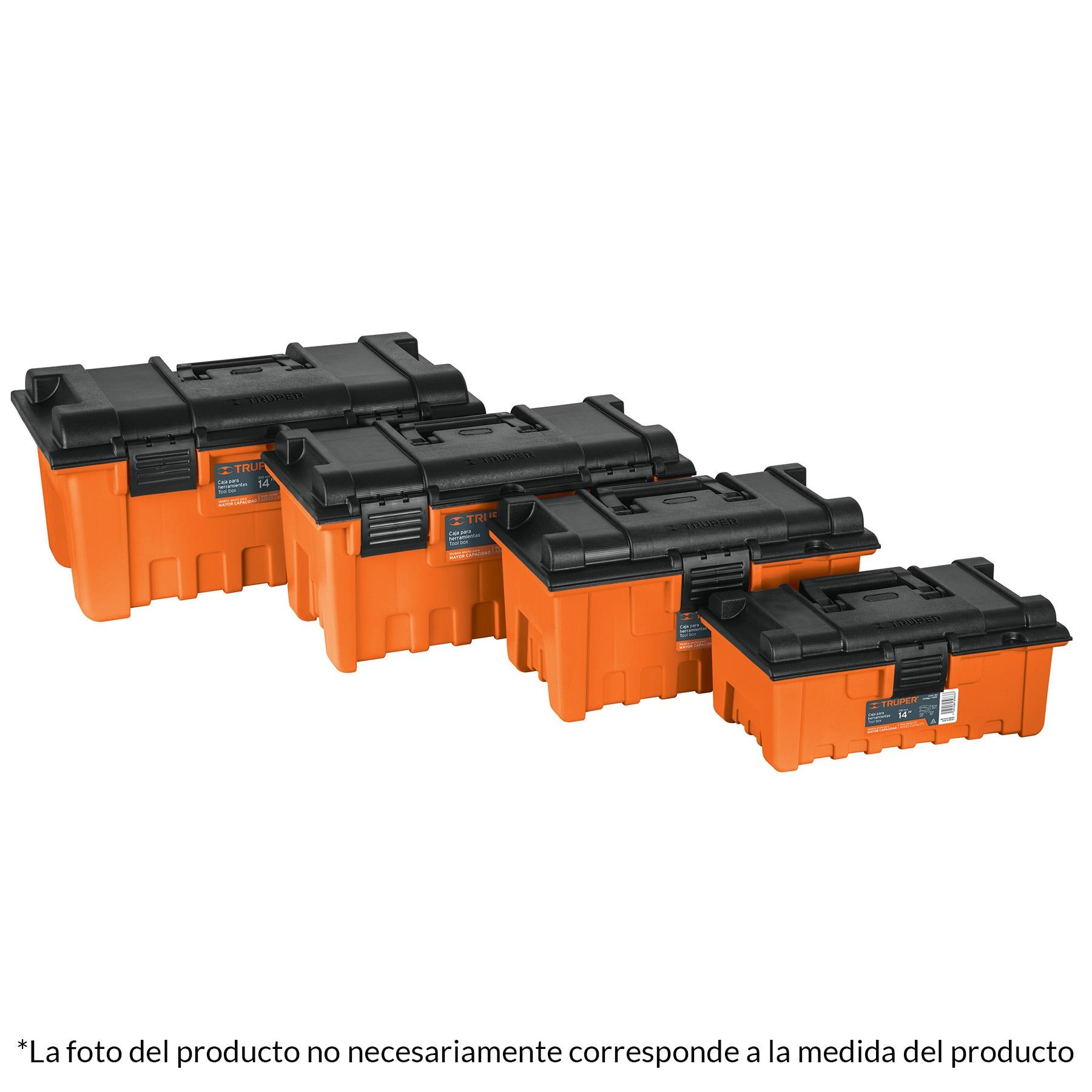 Caja para herramienta, amplia de 22'', color naranja