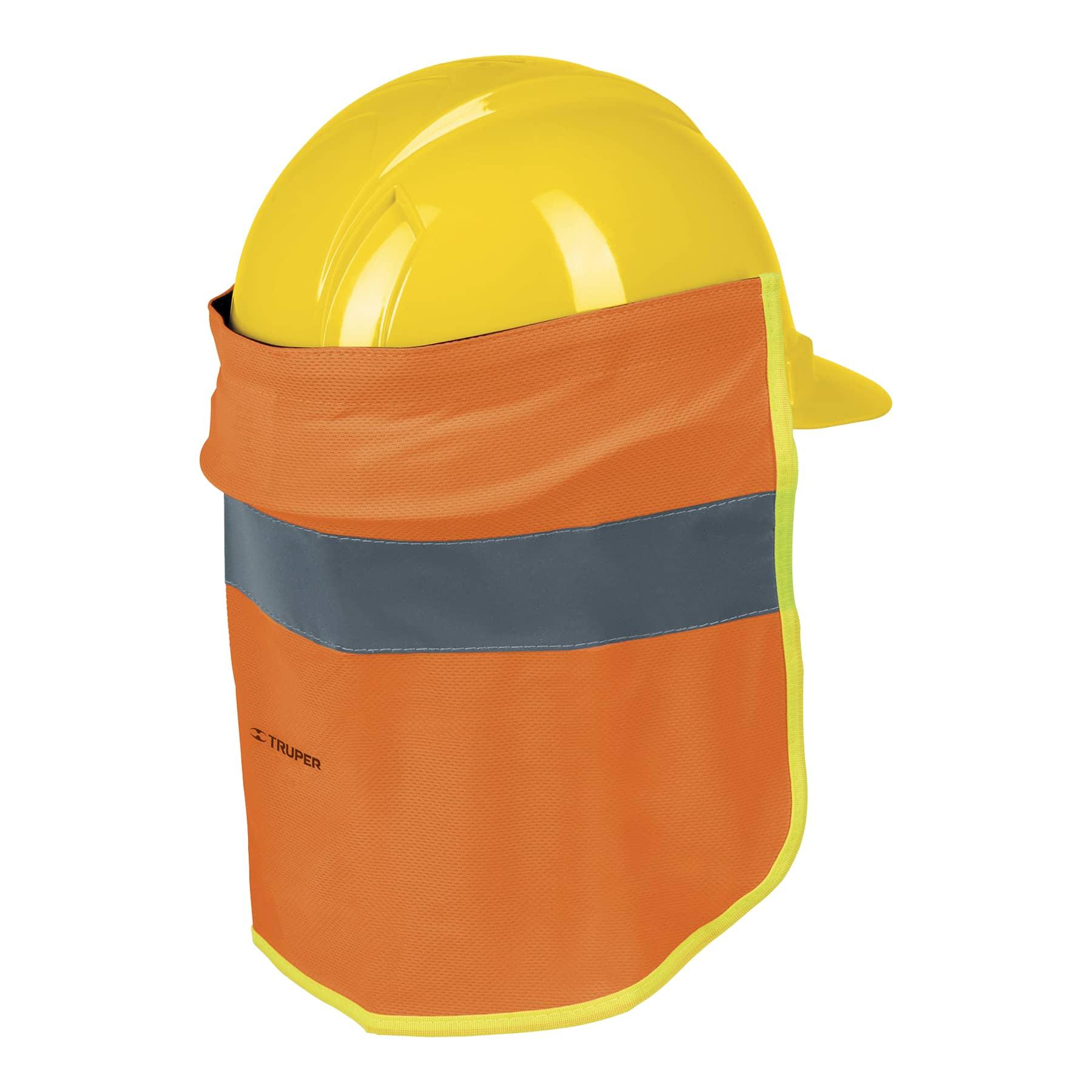 Cubrenuca para casco, naranja con reflejante, 30 cm