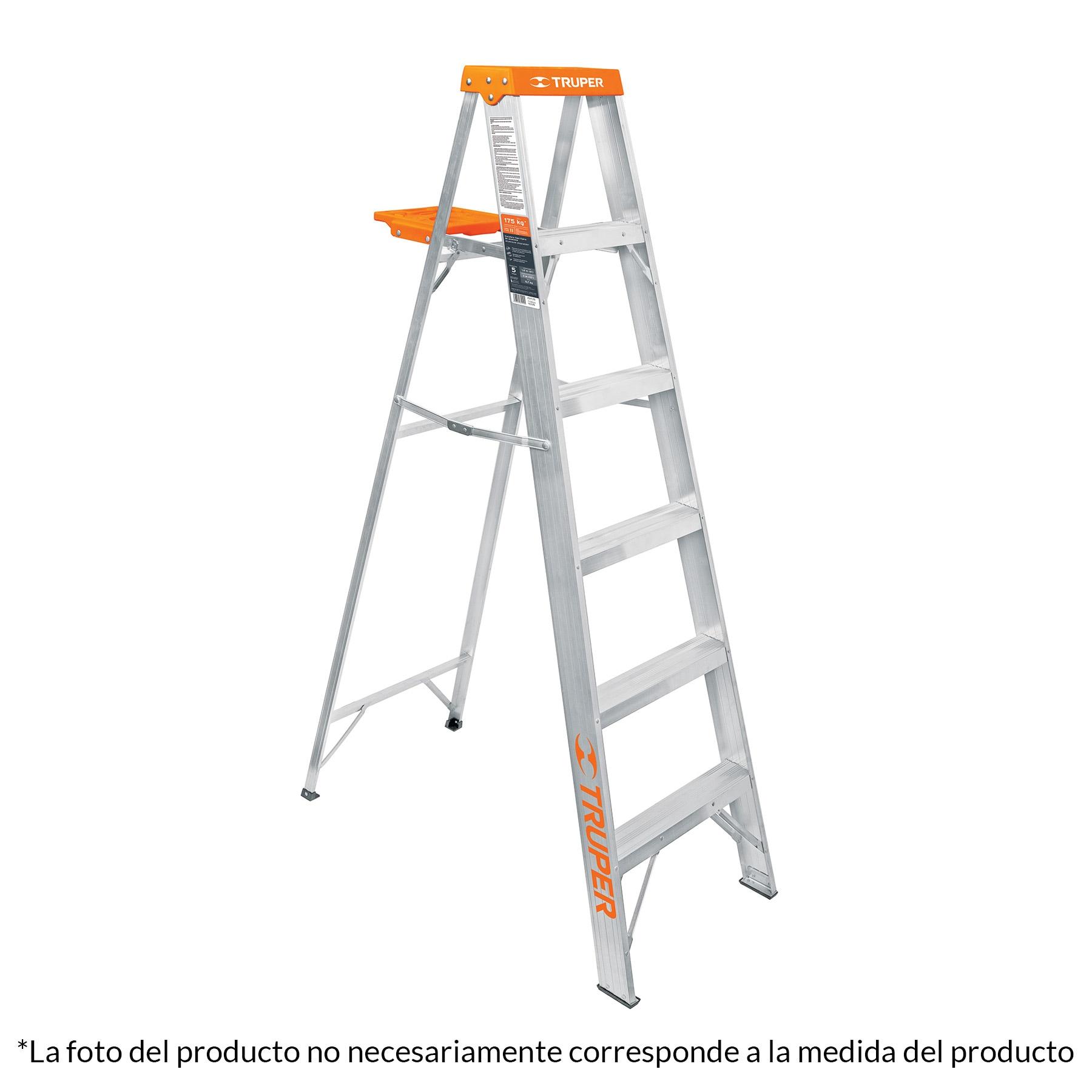 Escalera de tijera tipo II, 9 escalones, con bandeja