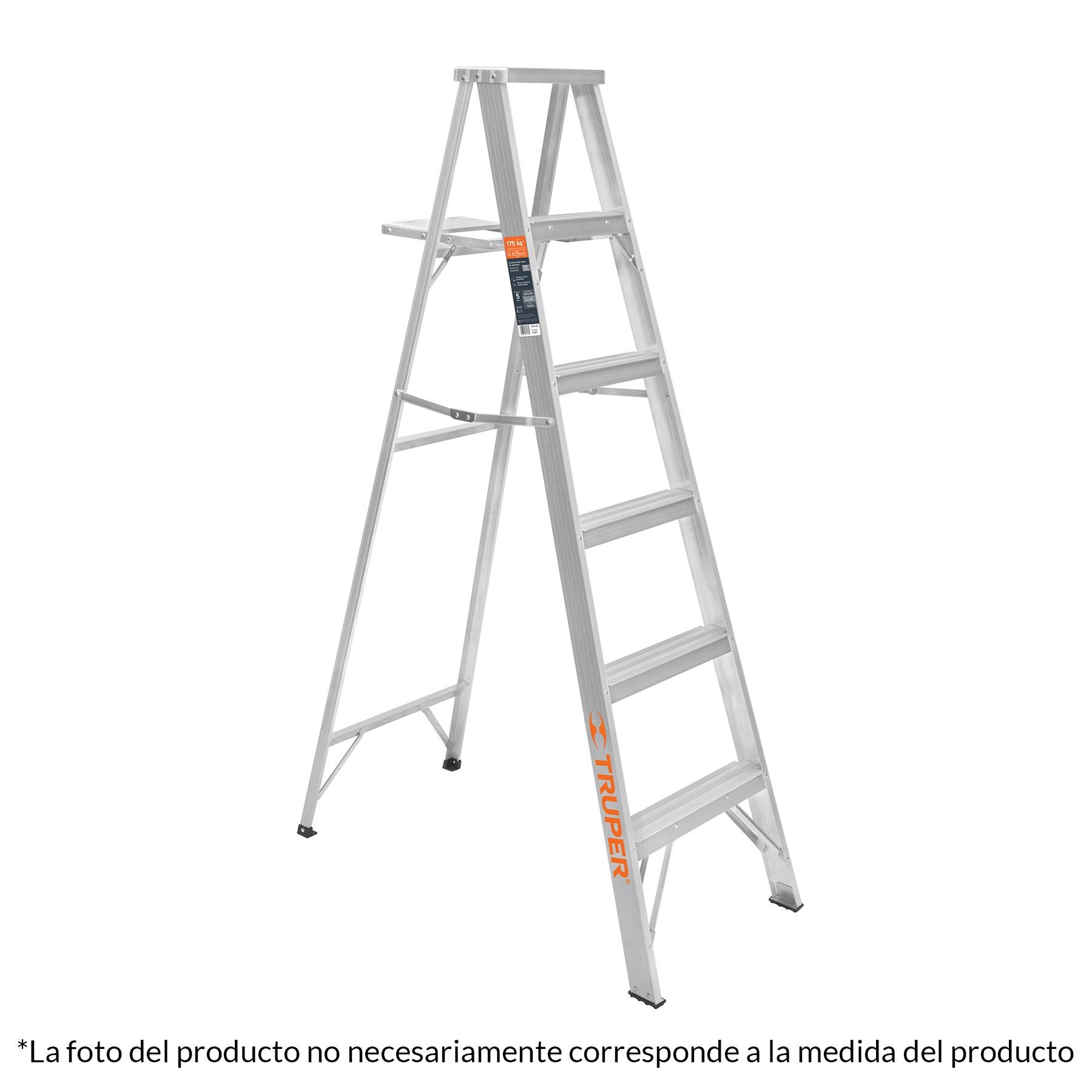 Escalera de tijera, aluminio, tipo ll, 5 escalones