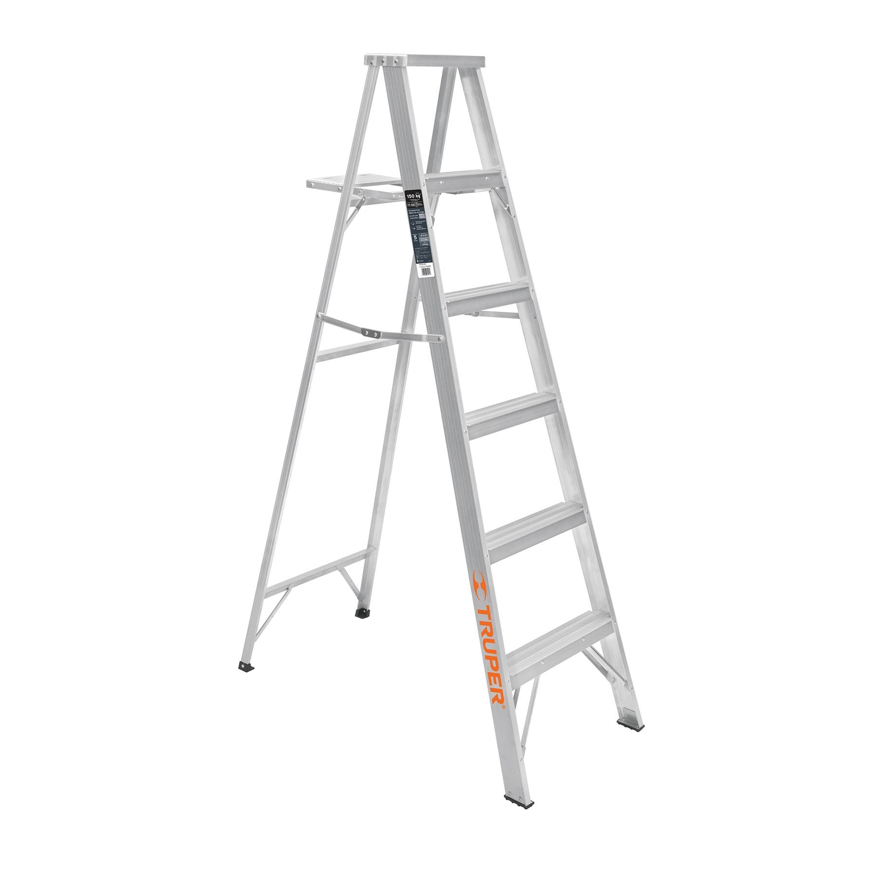 Escalera de tijera, aluminio, tipo lll, 5 escalones