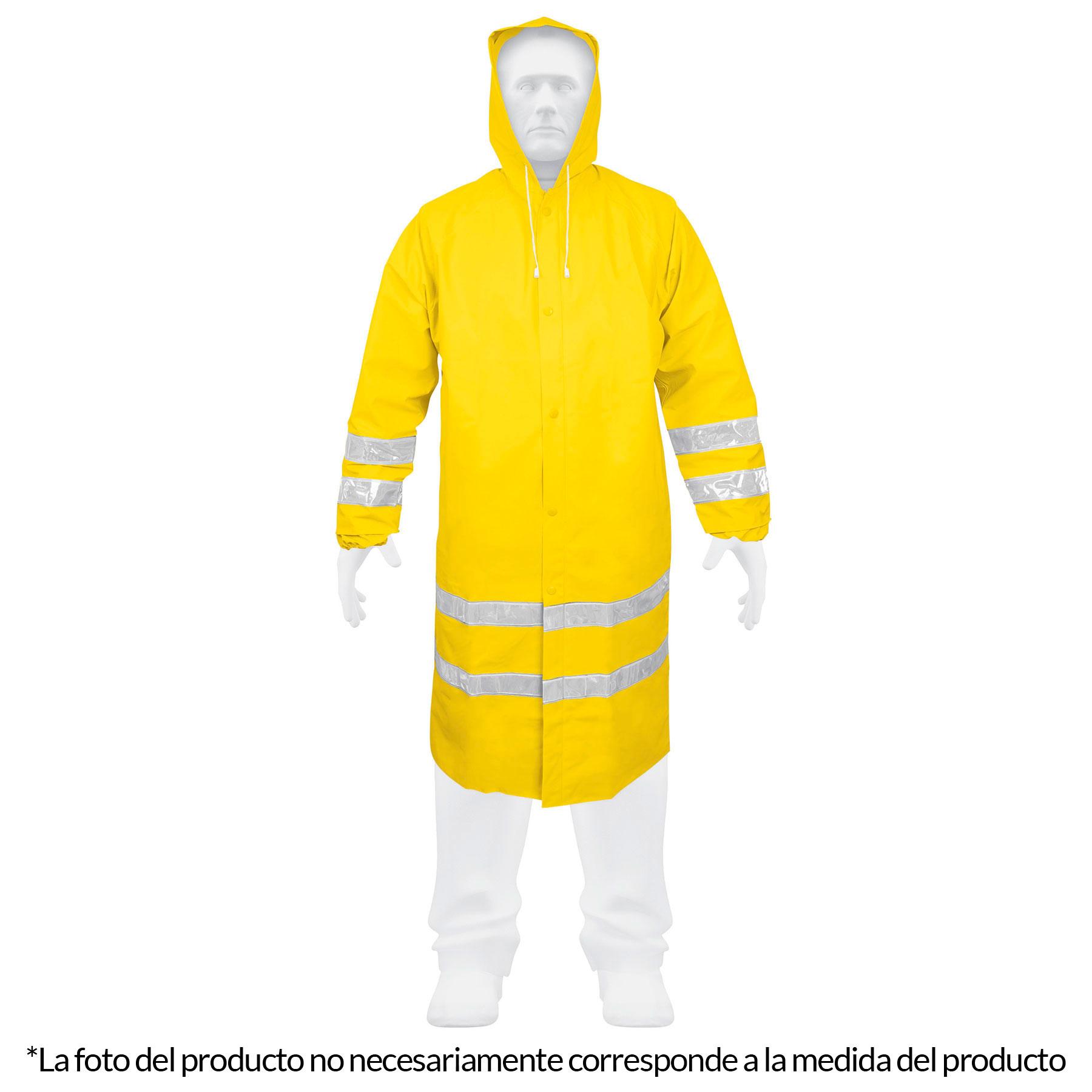 Gabardina impermeable con reflejante, talla mediana, PVC