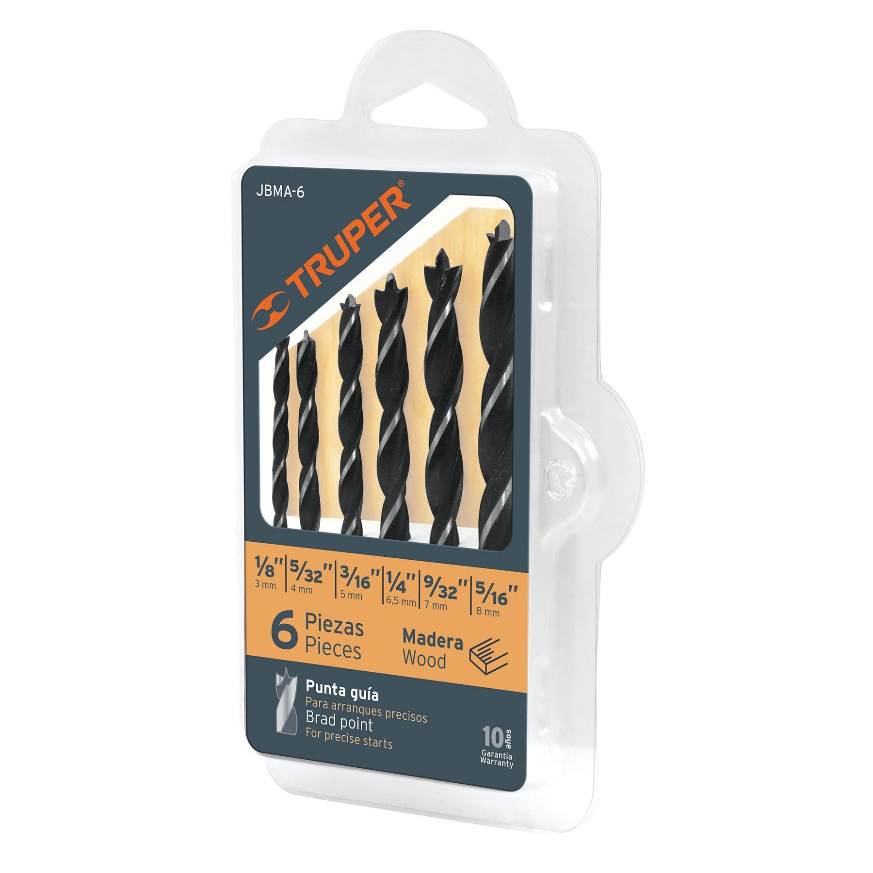 Juego de brocas para madera, 6 piezas