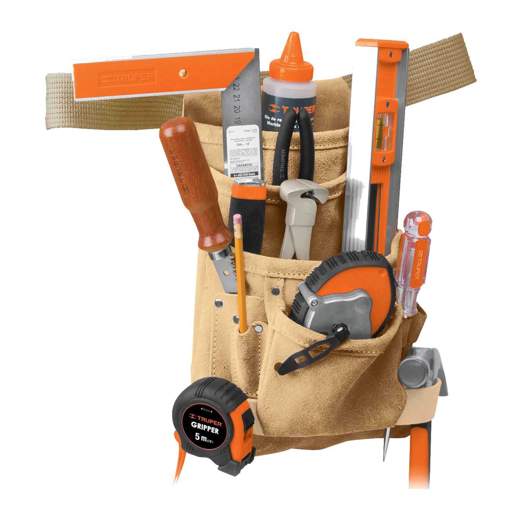 Porta herramientas de carnaza, 12 compartimentos