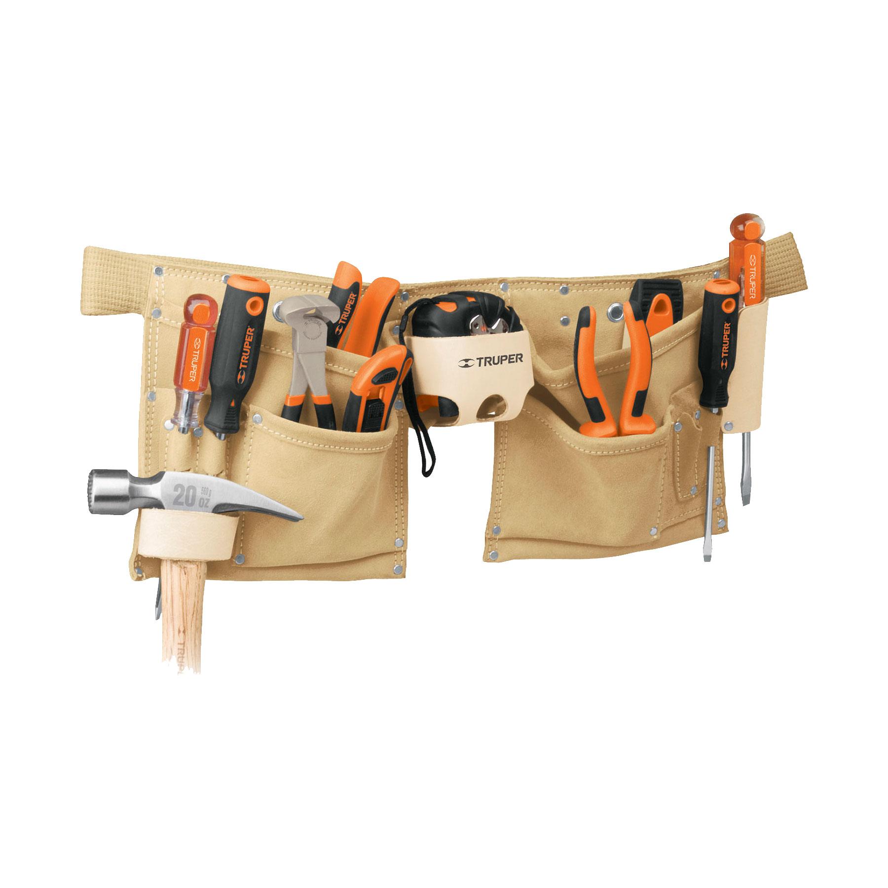 Porta herramientas de carnaza, 13 compartimentos