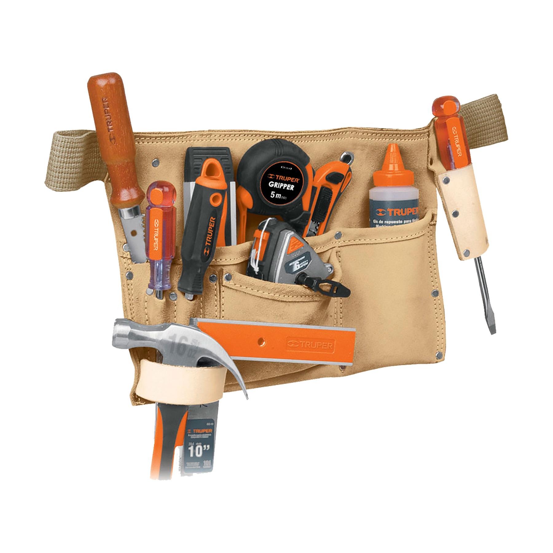 Porta herramientas de carnaza, 9 compartimentos