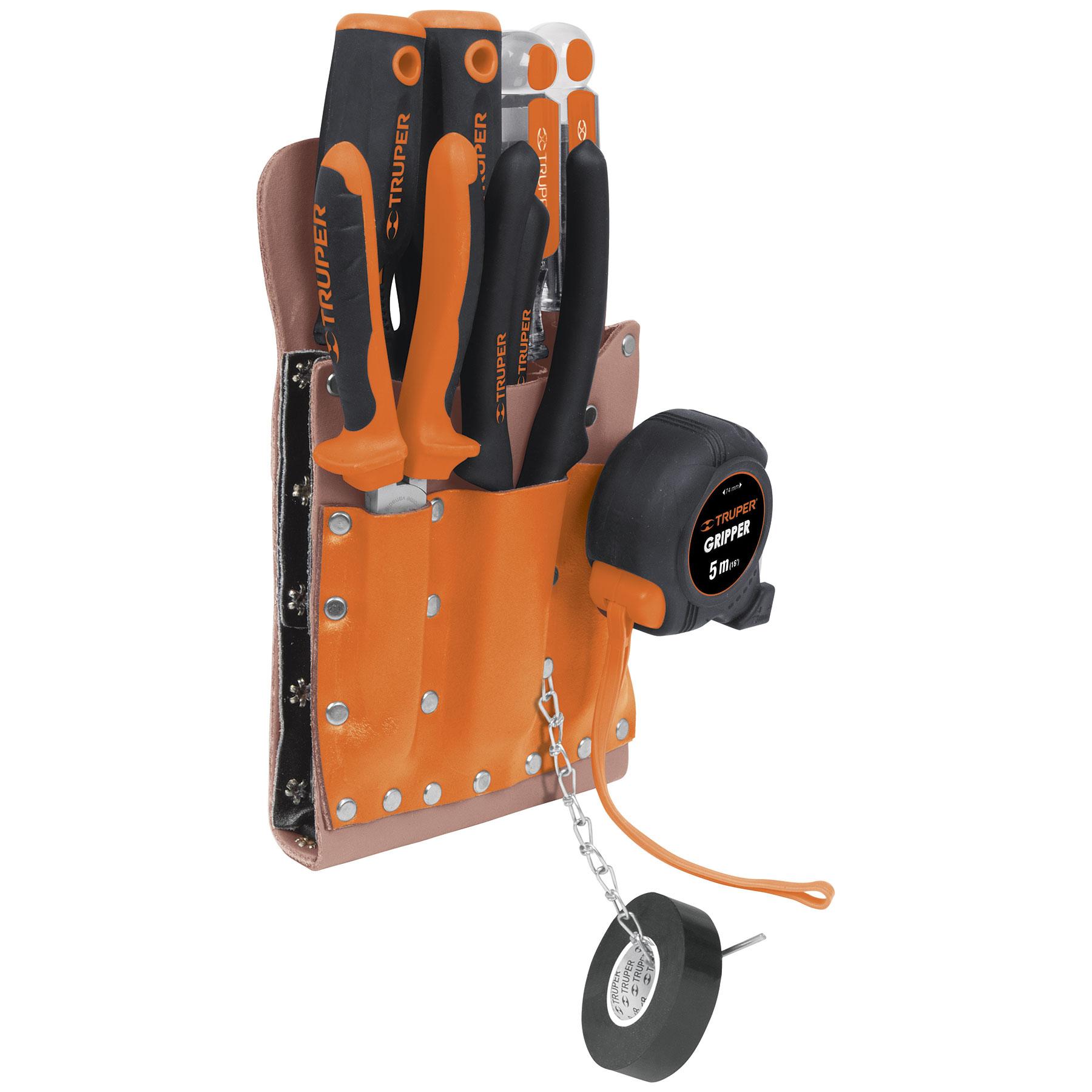 Porta herramientas de cuero, 11 compartimentos