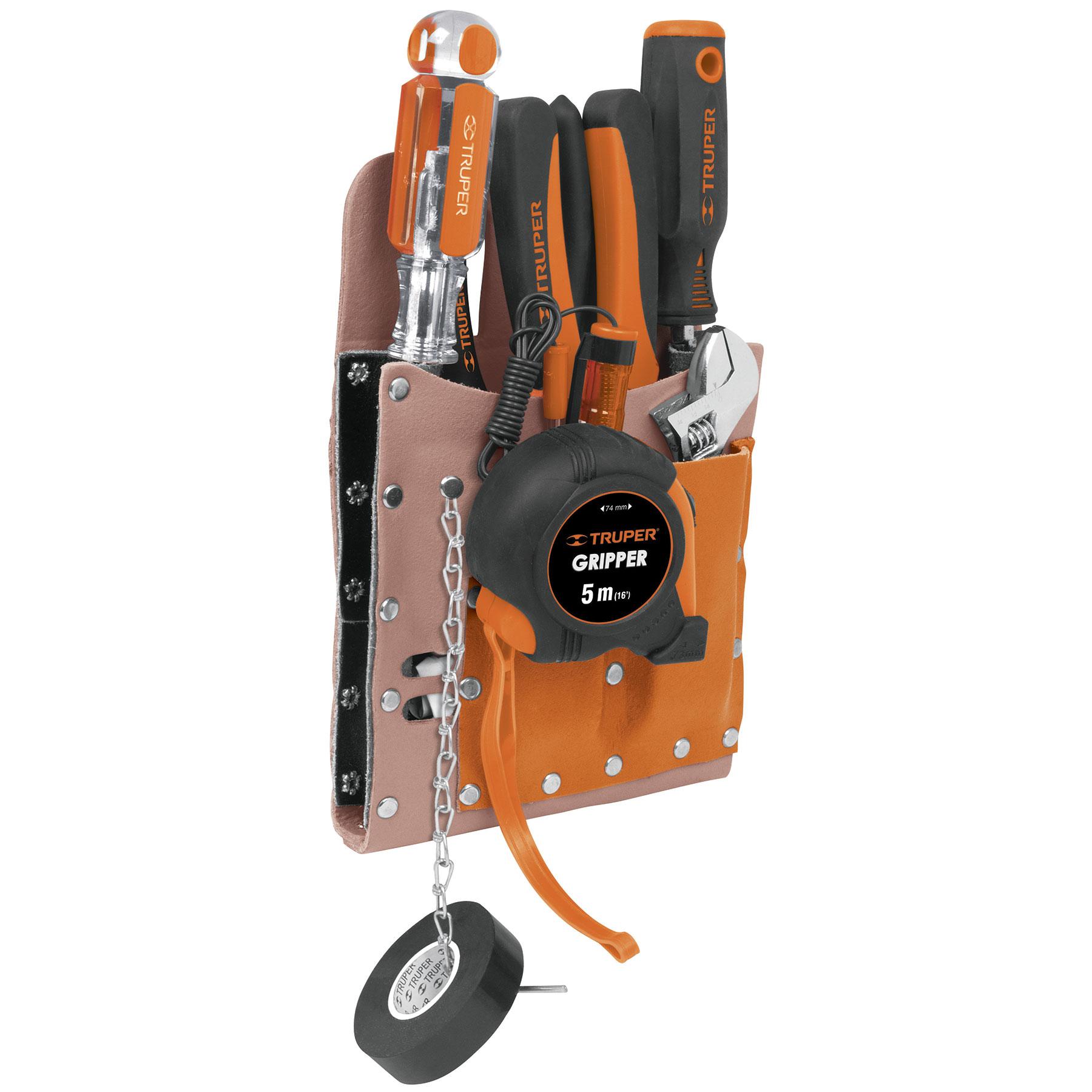 Porta herramientas de cuero, 6 compartimentos
