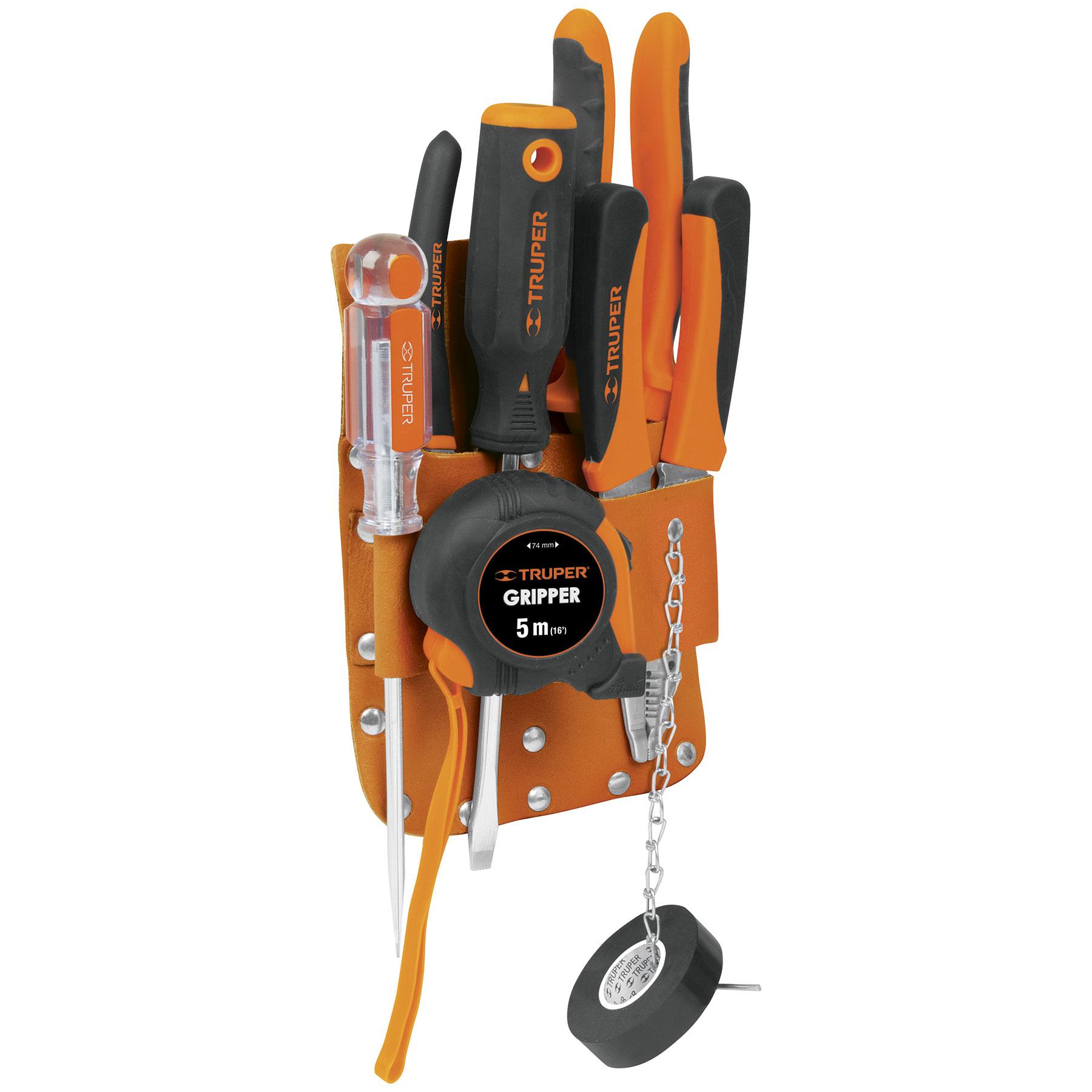 Porta herramientas de cuero, 7 compartimentos