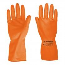 Guantes de látex para limpieza, color naranja