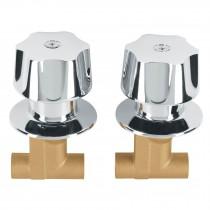 Jgo 2 llaves empotrar soldables c/manerales metálicos,Basic