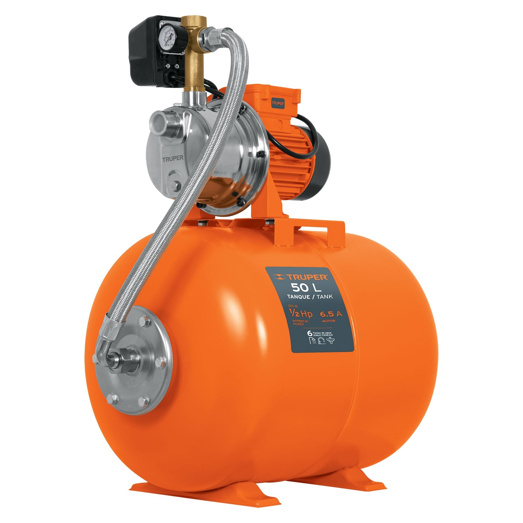 Bomba hidroneumática 1/2 HP, 50 litros
