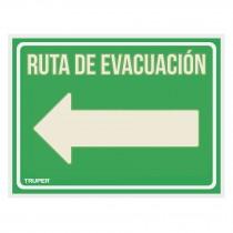 """Letrero de señalización """"RUTA EVACUACIÓN IZQUIERDA"""", 21x28 cm"""