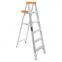 Escaleras tipo tijera, con bandeja naranja, 175 kg