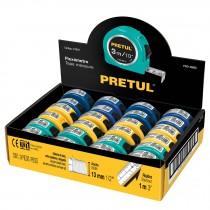 Flexómetros 3 m, cinta 13 mm en display box, 24 pzas, Pretul
