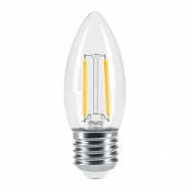 Lámpara tipo vela, filamento de LED, 3 W, E26, luz cálida