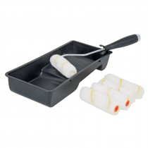"Kit de rodillo para pintar, 4"" (maneral, charola y felpa)"