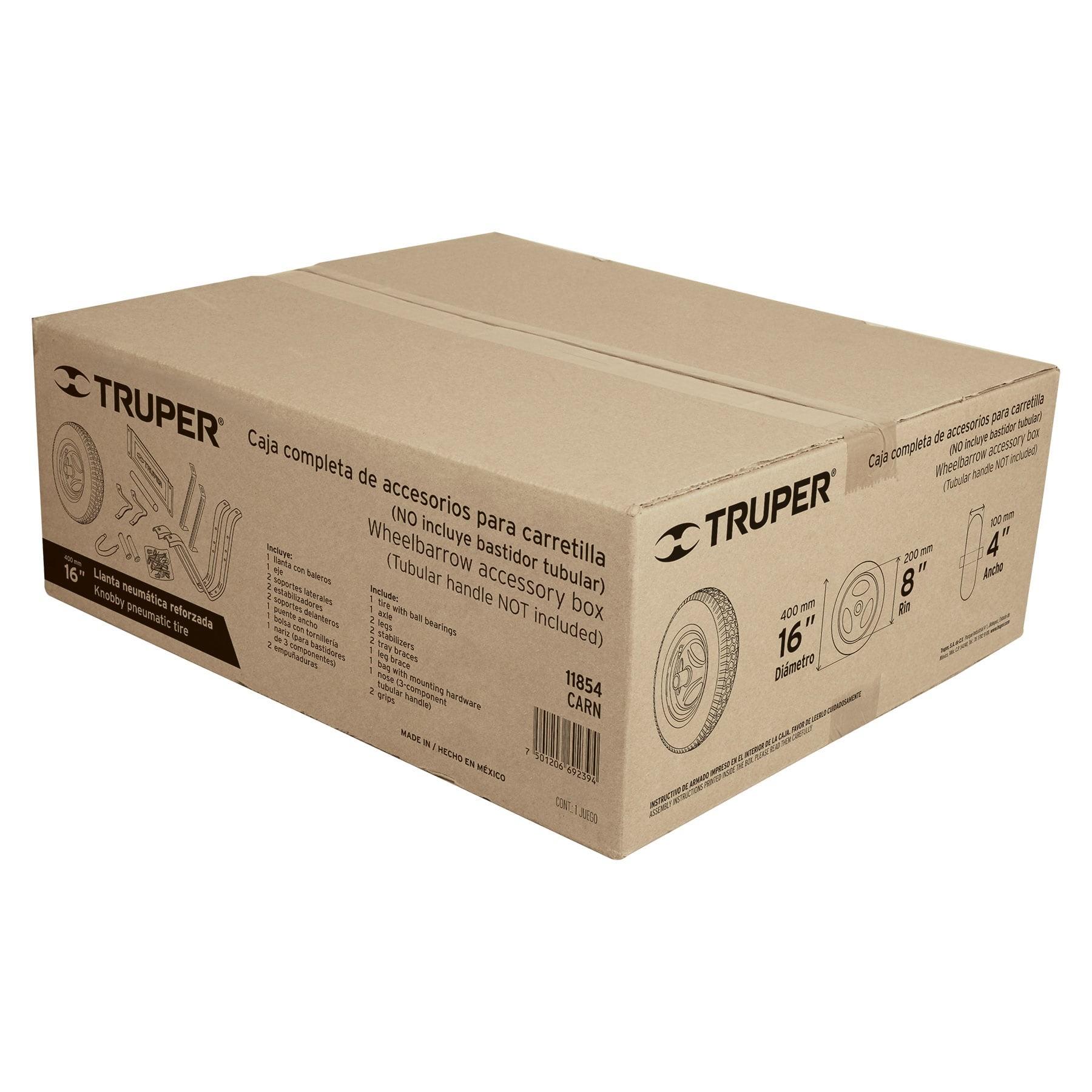 """Caja con accesorios y llanta reforzada, 16"""" para carretilla"""