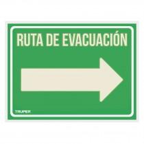 """Letrero de señalización """"RUTA EVACUACIÓN DERECHA"""", 21 x 28 cm"""