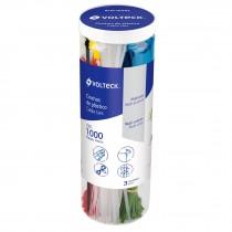 Cincho plástico, colores surtidos, bote con 1000 pzas
