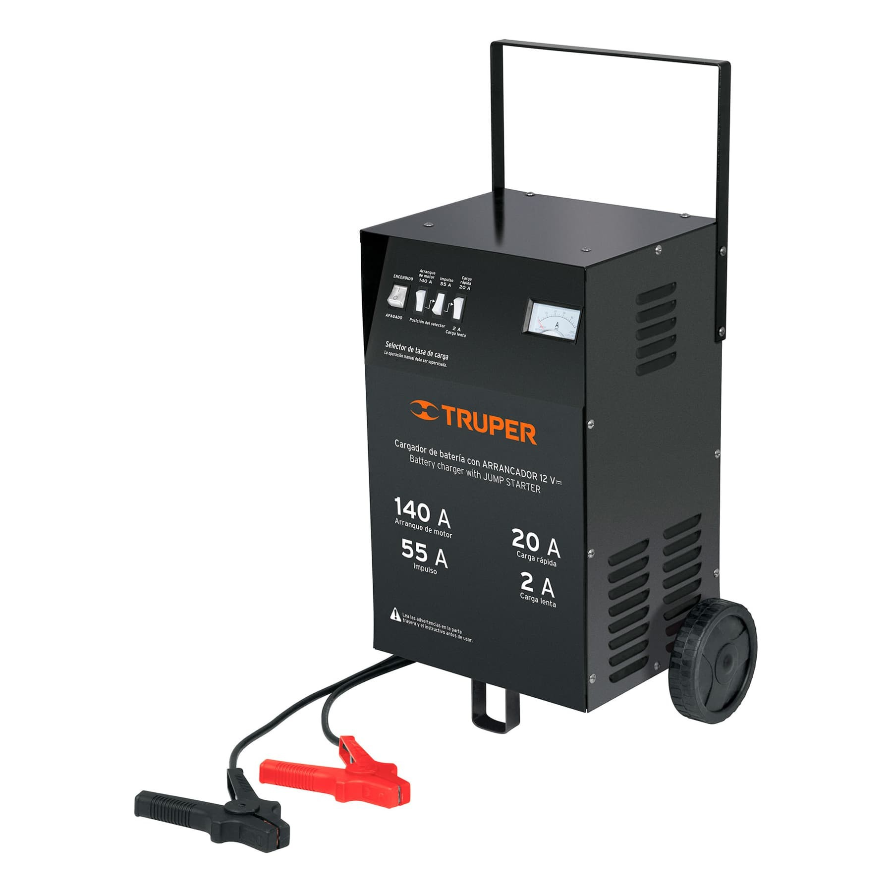 Cargador de baterías con ruedas 12 V, 140 A