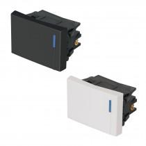 Interruptores sencillos, 1.5 módulos, línea Española