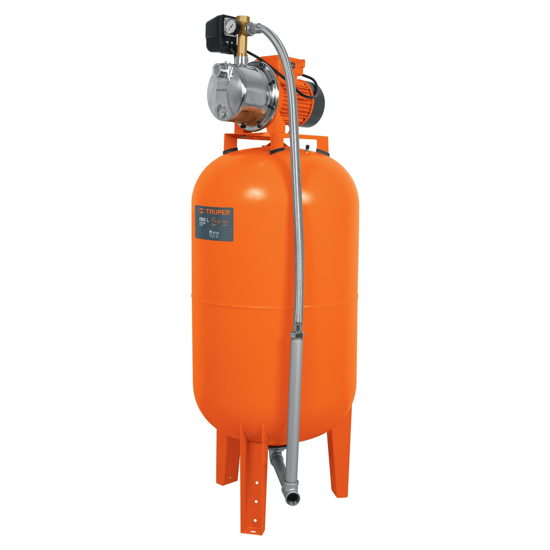 Bomba hidroneumática 1-1/2 HP, 150 litros
