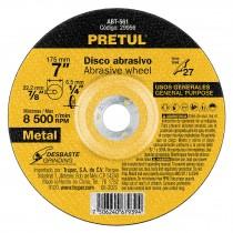 "Disco para desbaste de metal, tipo 27, diámetro 7"", Pretul"