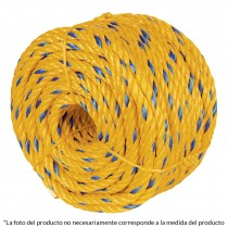 Cuerda torcida de polipropileno, amarilla, 11 mm x 19 m