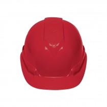 Casco de seguridad ventilado, ajuste de matraca, rojo