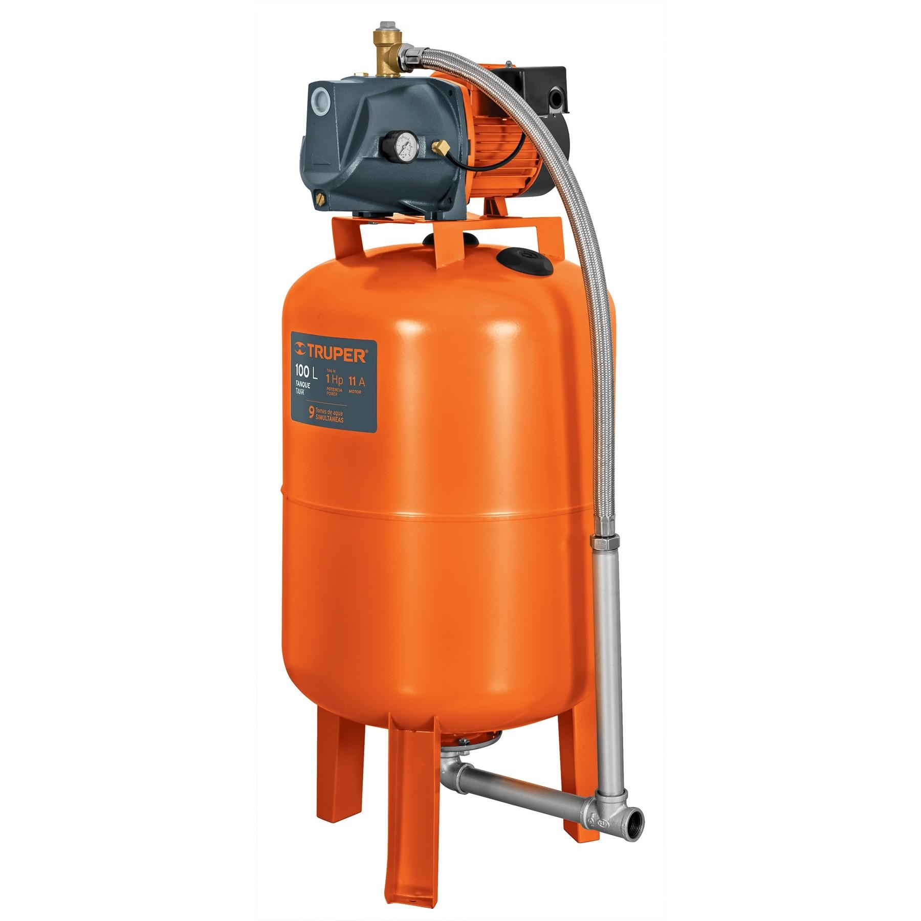 Bomba hidroneumática 1 HP, 100 litros