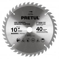 "Sierra circular p/madera 10"", 40 dientes, centro 1"", Pretul"