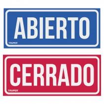 """Letrero de señalización """"ABIERTO/CERRADO"""", 28 x 12 cm"""