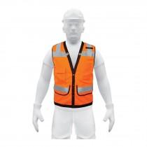 """Chalecos reforzados, cintas de 2"""" máxima visibilidad, con broches y 7 bolsas, naranjas"""