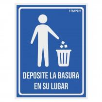 """Letrero señalización """"DEPOSITE LA BASURA EN SU LUGAR"""", 21x28cm"""
