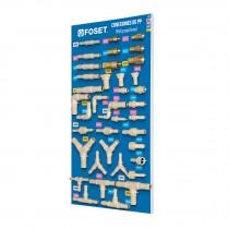Exhibidor con conexiones para manguera de PP, Foset