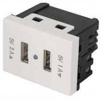 Toma con 2 puertos USB, 1.5 módulos, línea Española, blanco