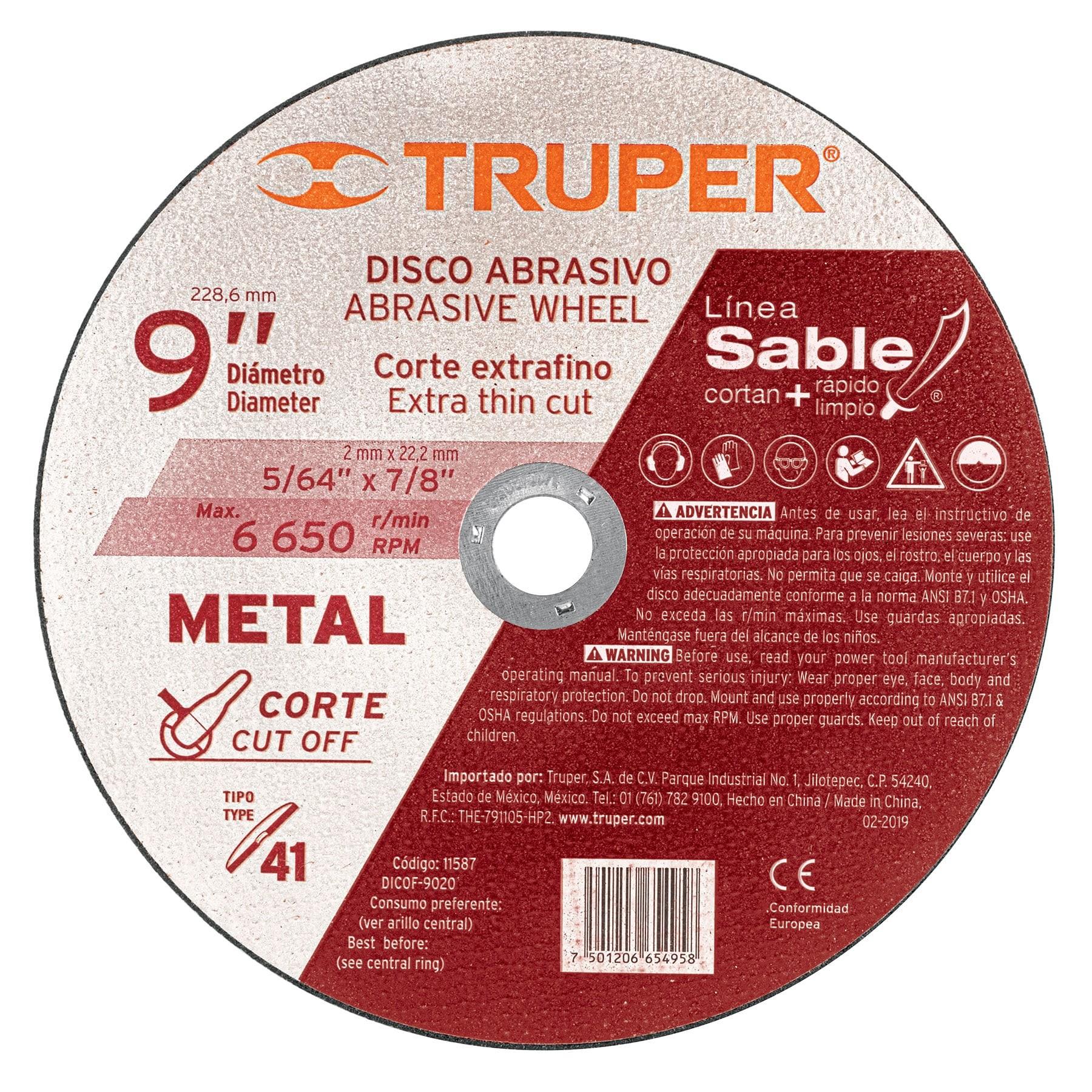 """Disco Tipo 41 para corte fino de metal Línea Sable 9"""", 2mm"""