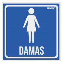 """Letrero de señalización """"DAMAS"""", 19 x 19 cm"""