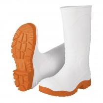 Botas sanitarias de PVC, blancas suela naranja