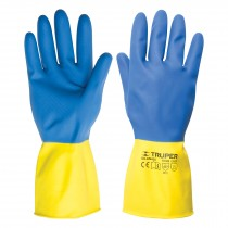 Guantes de látex para limpieza, color azul con amarillo