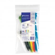 Cincho plástico, colores surtidos, 200 pzas