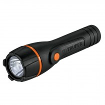 Linterna plástica, LED, luz directa, 2 pilas AA, 80 Lm
